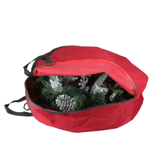 """36"""" Red and Black Zip Up Christmas Wreath Storage Bag - IMAGE 1"""