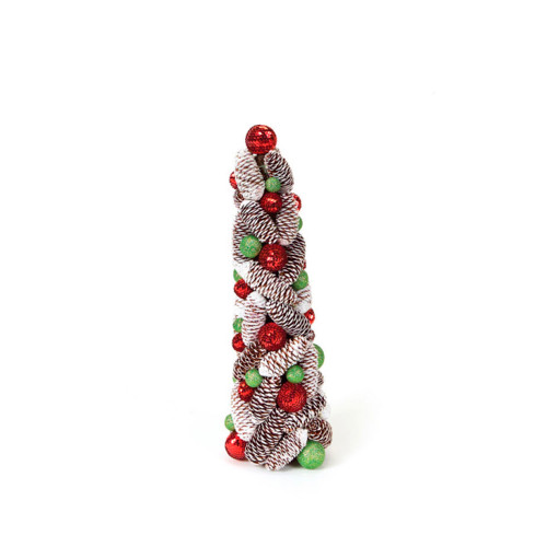 1.5' Red and White Pencil Candy Crush Topiary Artificial Christmas Tree - Unlit - IMAGE 1