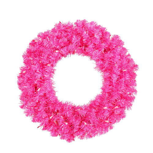 Pre-Lit Sparkling Pink Wide Cut Artificial Christmas Wreath - 30-Inch, Pink Lights - IMAGE 1