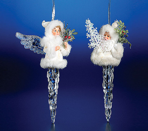 "Pack of 8 Clear Icy Crystal Decorative Christmas Icicle Angel Ornaments 7"" - IMAGE 1"