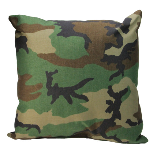 "17"" Green and Brown Camouflage Outdoor Patio Throw Pillow - IMAGE 1"