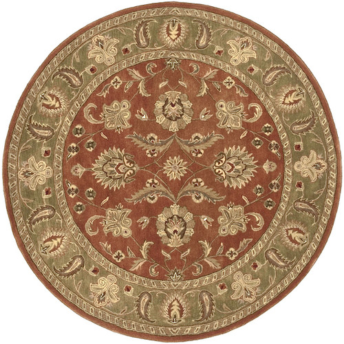 8' Green and Red Contemporary Round Wool Area Throw Rug - IMAGE 1