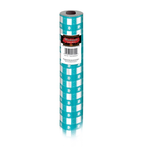 100' Teal Blue and White Floral Gingham Disposable Banquet Party Table Roll - IMAGE 1