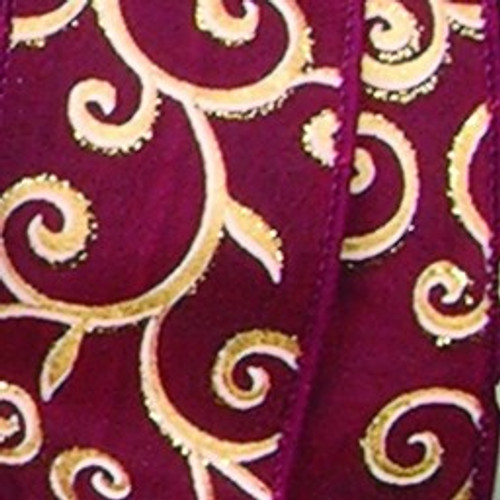 """Bordeaux Red and Metallic Gold Swirl Wired Craft Ribbon 2.5"""" x 20 Yards - IMAGE 1"""