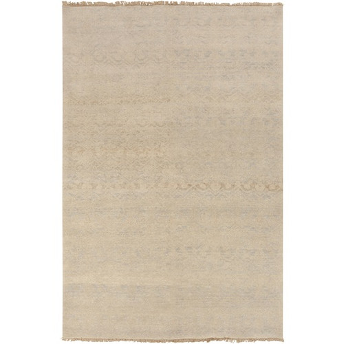 5.5' x 8.5' Desert Canvas Beige and Gray Hand Knotted Rectangular New Zealand Wool Area Throw Rug - IMAGE 1