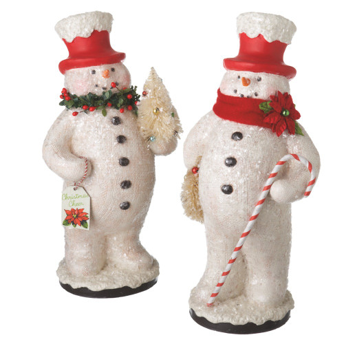 """12.25"""" Red and White Snowman Holding Tree Christmas Figure - IMAGE 1"""