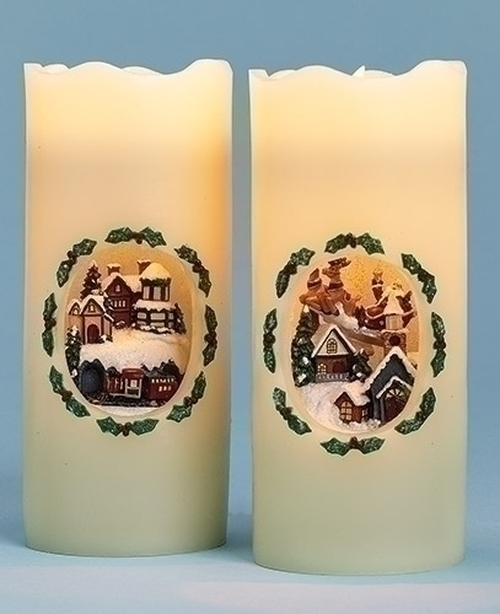 "7"" White and Green Santa's Train Station LED Lighted Christmas Pillar Candle - IMAGE 1"