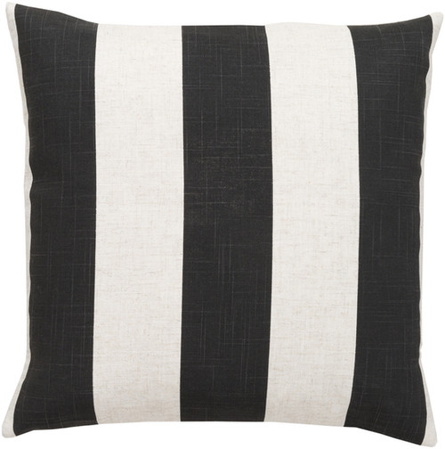 """22"""" Smokey Black and Coconut White Decorative Striped Throw Pillow - Poly Filled - IMAGE 1"""