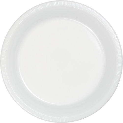 "Club Pack of 240 White Disposable Plastic Party Banquet Plates 10.25"" - IMAGE 1"