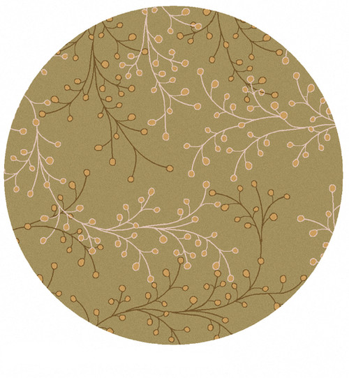 8' Brown and Yellow Contemporary Hand Tufted Round Wool Area Throw Rug - IMAGE 1