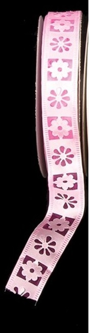 """Pink Embossed Flowers Wired Craft Ribbon 1"""" x 40 Yards - IMAGE 1"""