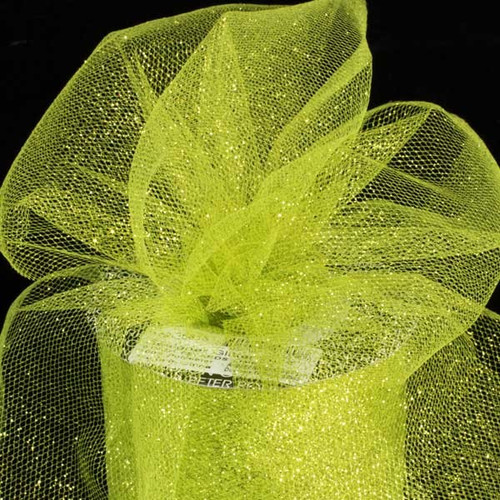 "Lime Green Contemporary Tulle Craft Ribbon 6"" x 110 Yards - IMAGE 1"