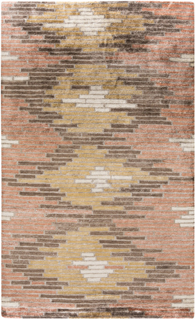 2' x 3' Orange and Brown Hand-Knotted Area Throw Rug - IMAGE 1