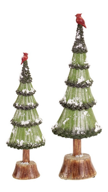 "Set of 2 Green and Brown Artificial Christmas Tree Tabletop Decors 20.5"" - IMAGE 1"