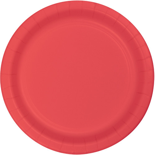 """Club Pack of 240 Decorative Round Coral Disposable Paper Dinner Party Plates 9"""" - IMAGE 1"""