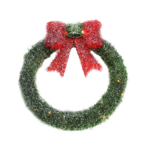 """16"""" Lighted Tinsel Green Wreath with Bow Christmas Window Decoration - IMAGE 1"""