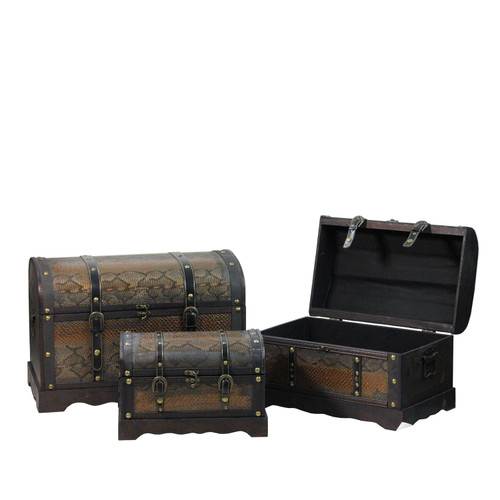 """Set of 3 Decorative Antique Brown Wood and Faux Snakeskin Storage Boxes 22.5"""" - IMAGE 1"""