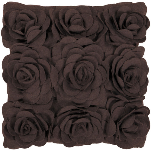 "22"" Brown Applique Roses Floral Solid Square Throw Pillow - IMAGE 1"
