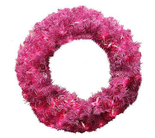 Pre-Lit Orchid Pink Cedar Pine Artificial Christmas Wreath - 36-Inch, Pink Lights - IMAGE 1