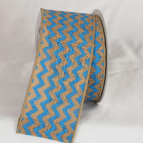 "Tan and Blue Burlap Chevron Print Wired Craft Ribbon 3"" x 40 Yards - IMAGE 1"