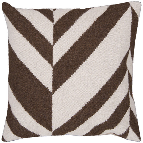 "22"" Brown and Beige Chevron Square Throw Pillow - Down Filler - IMAGE 1"
