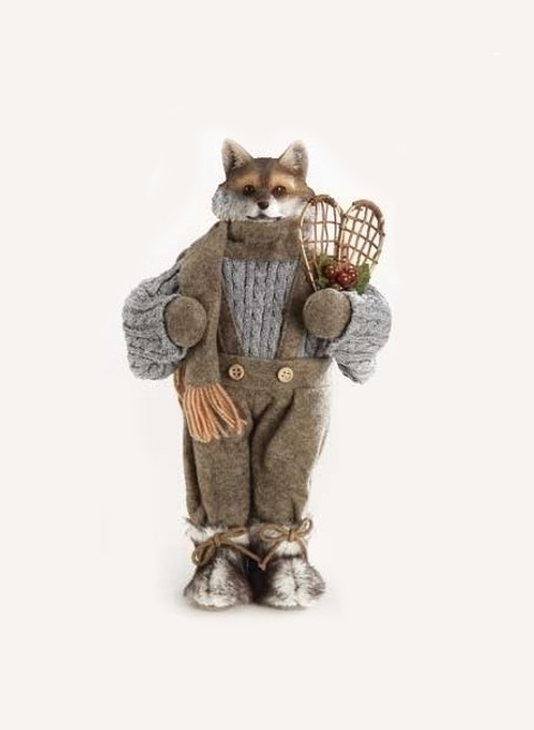 """14.5"""" Brown and Gray Fox holding Holly Berries Christmas Tabletop Figures - IMAGE 1"""