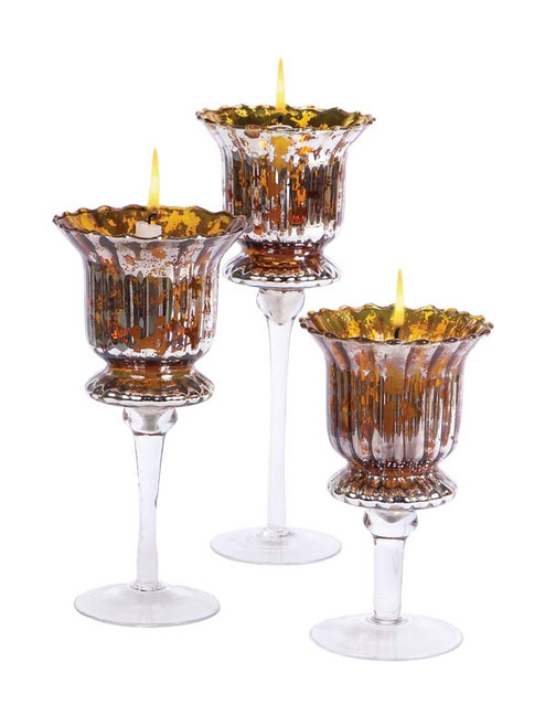 """Set of 3 Gold and Silver Distressed Votive Candle Holders 8"""" - 12"""" - IMAGE 1"""