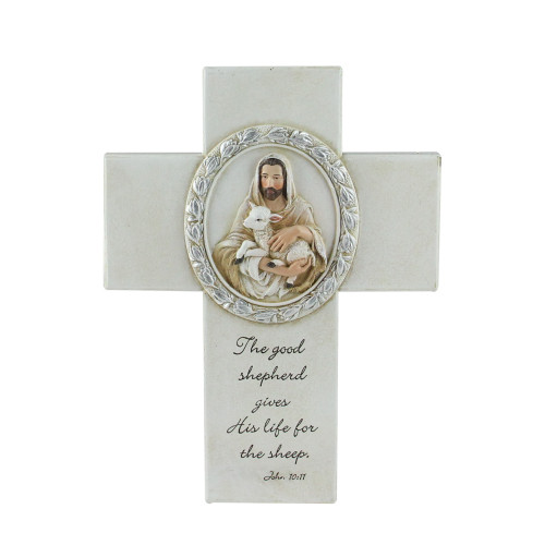 """8"""" Joseph's Studio Biblical Verse with Jesus and the Lamb Religious Wall Cross Decoration - IMAGE 1"""