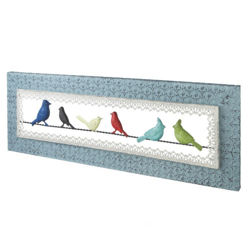 """34.5"""" Rustic Homespun Colorful Birds on a Wire Framed Wall Decoration - IMAGE 1"""
