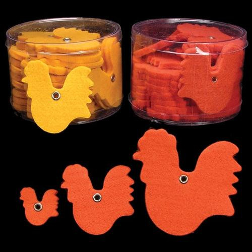 Club Pack of 144 Orange Fuzzy Felt Roosters 3 - IMAGE 1