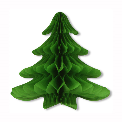 """Pack of 6 Green Honeycomb Tissue Christmas Trees 25"""" - IMAGE 1"""