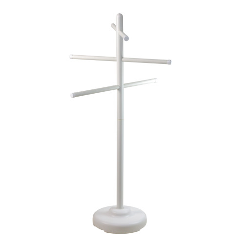 "White Swimming Pool Towel Hanger Rack Poolside Organizer 51"" - IMAGE 1"