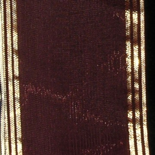 "Brown and Gold Edge Craft Ribbon 2"" x 33 Yards - IMAGE 1"