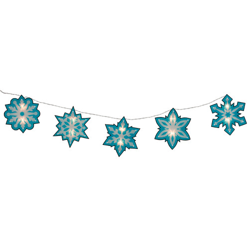 10ct Blue and White Snowflake Novelty Christmas Clear Light Set – 4.5-Feet, White Wire - IMAGE 1