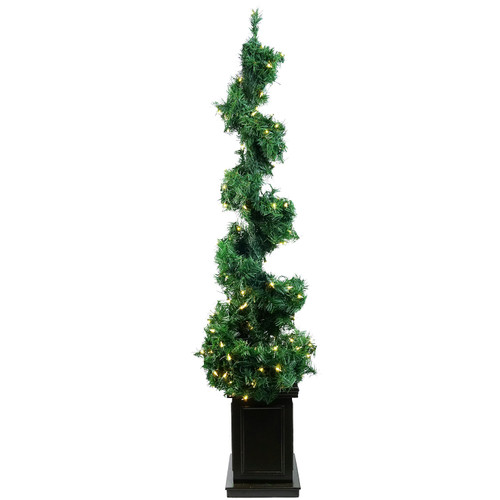 5' Pre-Lit Potted Helix Spiral Artificial Topiary Tree - Clear Lights - IMAGE 1