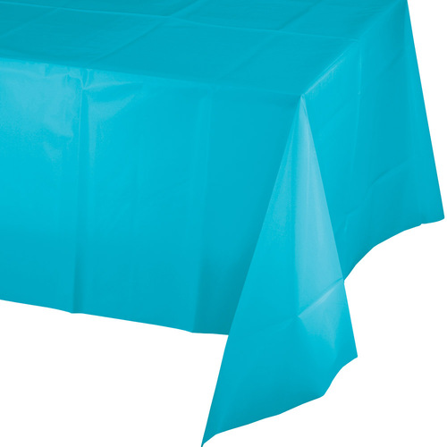 Club Pack of 12 Bermuda Blue Disposable Plastic Banquet Party Table Cloth Covers 9' - IMAGE 1