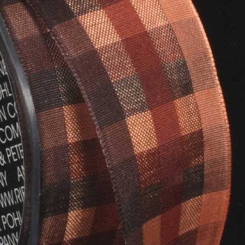 """Brown and Cantaloupe Orange Plaid Wired Craft Ribbon 1.5"""" x 50 Yards - IMAGE 1"""