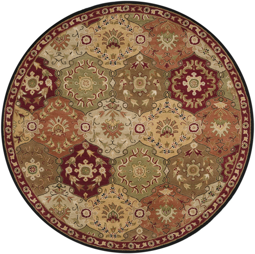9.75' Clover Brown and Olive Green Round Wool Area Throw Rug - IMAGE 1
