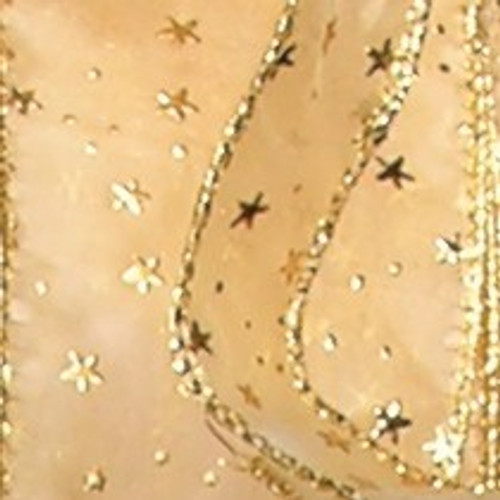 """Gold Contemporary Star Wired Craft Ribbon 2"""" x 20 Yards - IMAGE 1"""