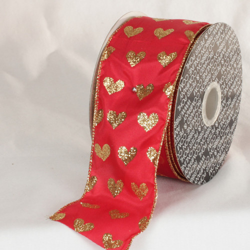 """Red and Metallic Gold Valentine Day Wired Craft Ribbon 2.5"""" x 40 Yards - IMAGE 1"""