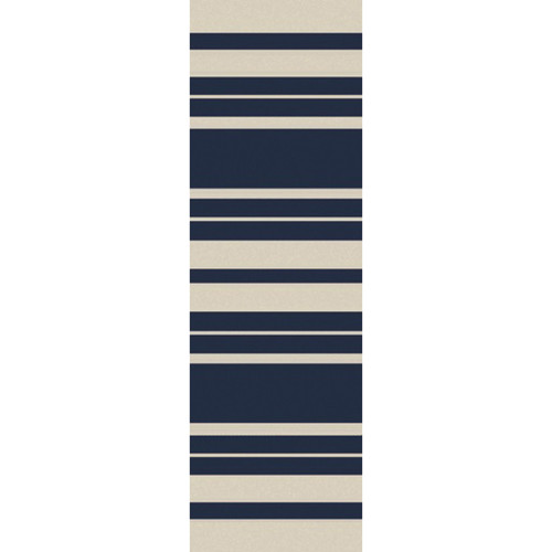 2.5' x 8' Striped Navy Blue and White Hand Woven Outdoor Area Throw Rug Runner - IMAGE 1