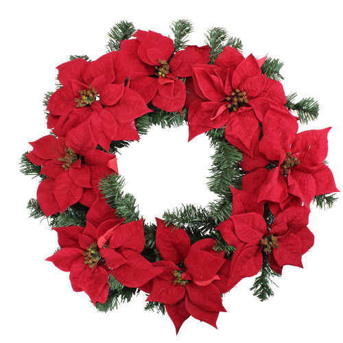 Pre-Lit Poinsettia Artificial Christmas Wreath - 24-Inch, Clear LED Lights - IMAGE 1