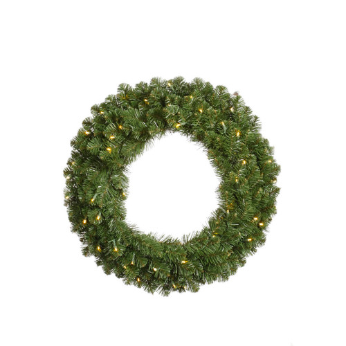 Pre-Lit Grand Teton Artificial Christmas Wreath - 30-Inch, Clear Lights - IMAGE 1