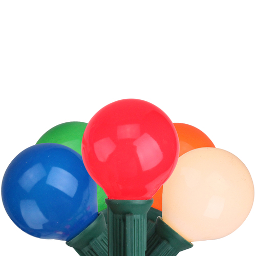 20-Count Vibrantly Colored Opaque G50 Globe Christmas Light Set, 19ft Green Wire - IMAGE 1