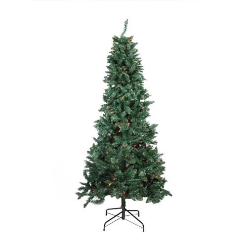 9' Pre-Lit Green Slim Pine Artificial Christmas Tree - Multicolor Lights - IMAGE 1