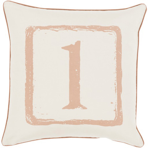 "18"" Mocha Brown and White 1 Big Kid Blocks Decorative Throw Pillow - Polyester Filler - IMAGE 1"