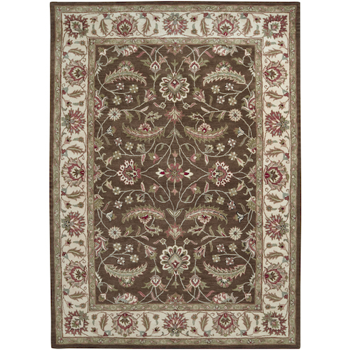 8' x 11' Chocolate Brown and White Traditional Hand Tufted Rectangular Area Throw Rug - IMAGE 1
