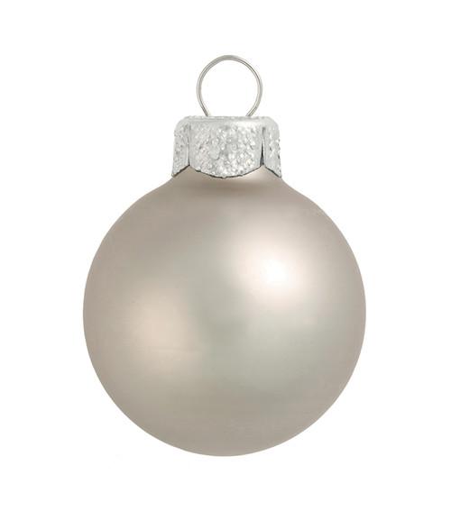 "2ct Smoke Silver Matte Glass Christmas Ball Ornaments 6"" (150mm) - IMAGE 1"