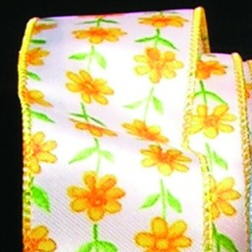 "White and Yellow Petite Flowers Print Wired Craft Ribbon 1.5"" x 40 Yards - IMAGE 1"