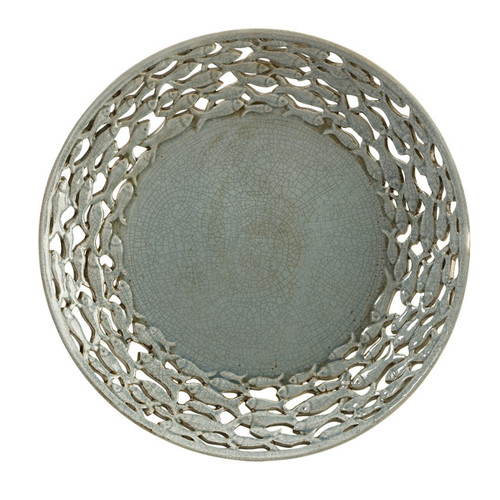 """18.5"""" Carolyn Kinder Gray Decorative Plate Charger with Cut-Out Fish Border - IMAGE 1"""